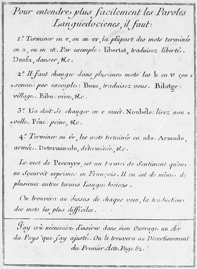 Reproduction du livret original de l'opéra avec en introduction une table pour aider à la compréhension de la langue occitane