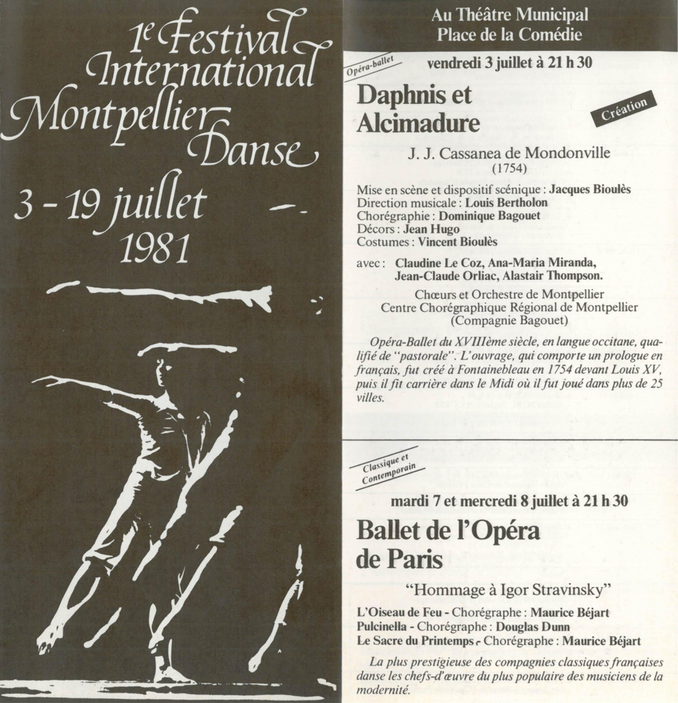 Programme de la première édition du festival Montpellier Danse