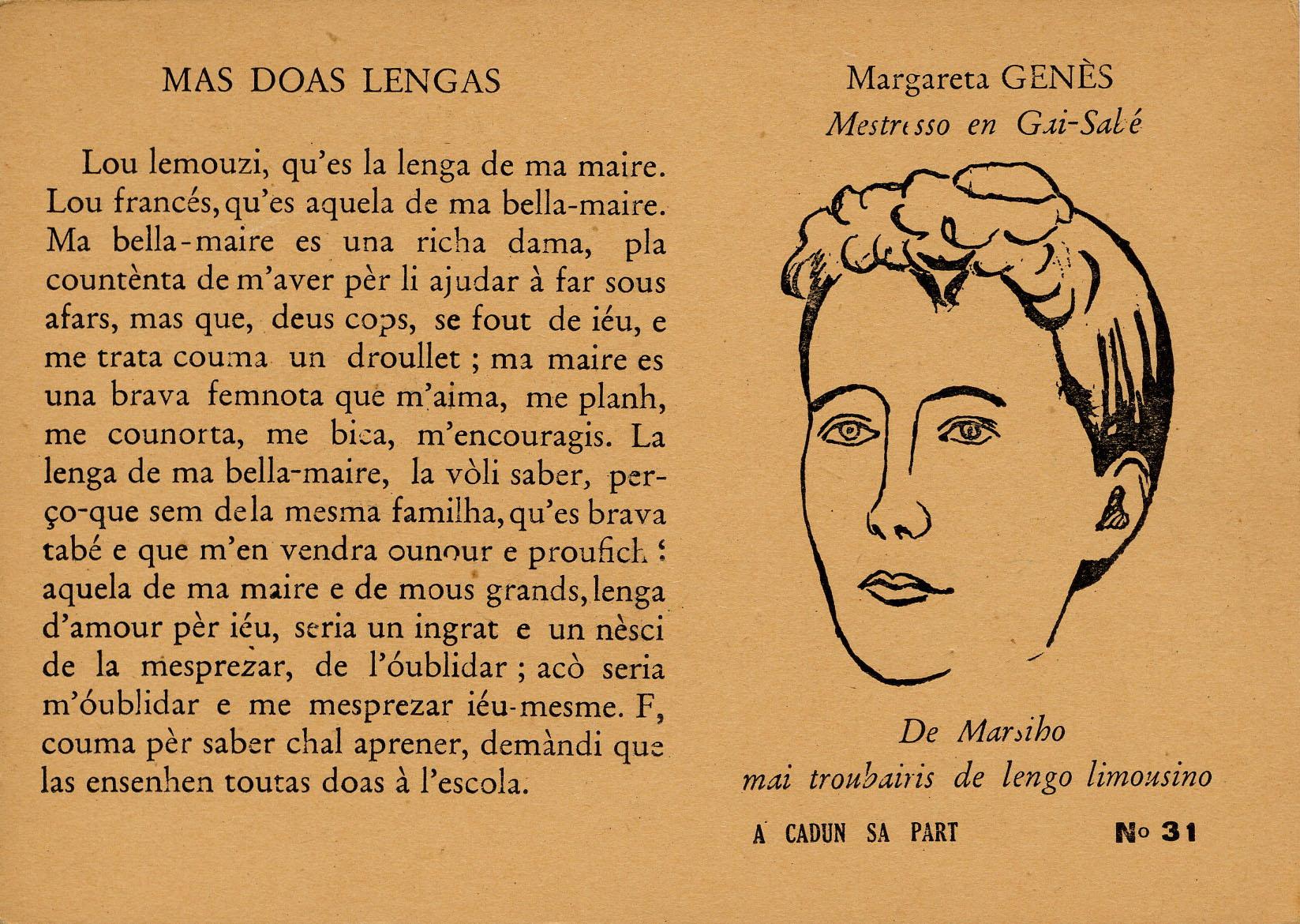 [Margareta Genès : Mestresso en Gai-Sabé], série de carte postale <i>A cadun sa part</i>, coll.CIRDÒC