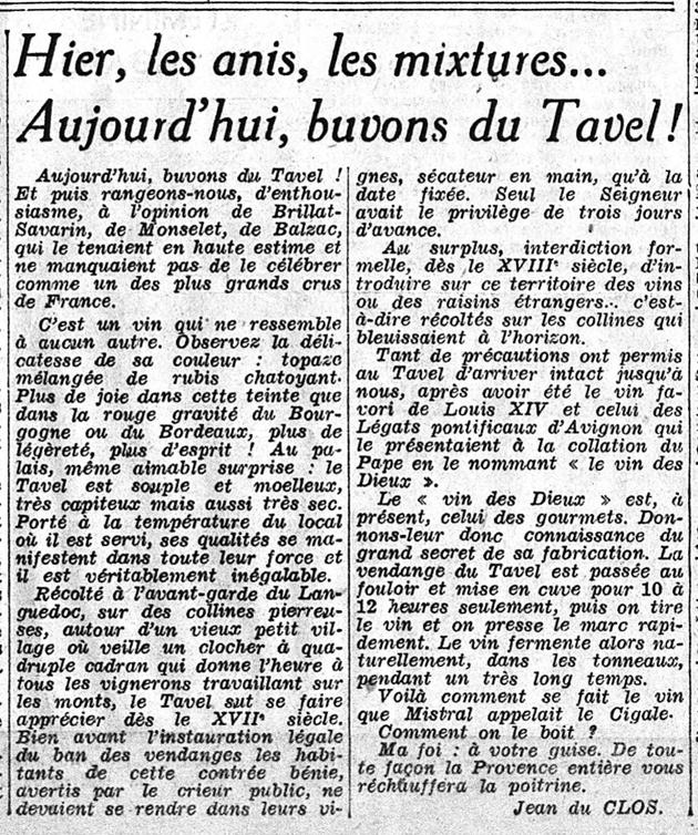 « Hier, les anis, les mixtures... Aujourd'hui, buvons du Tavel ! », article de jean du Clos dans Le Figaro, 22 octobre 1940 (source gallica.bnf.fr)