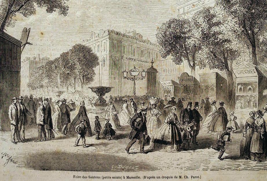 Foire des santons à Marseille d'après un croquis de Ch. Parot, Gravure, La Presse illustrée, 25 décembre 1869